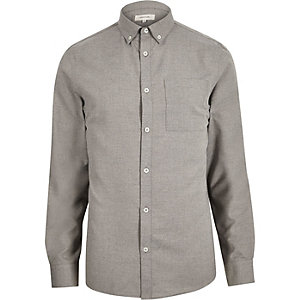 Grey flannel long sleeve shirt