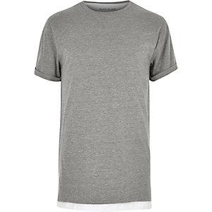 Grey marl double layer longline t-shirt