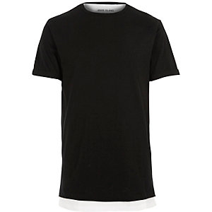 Black double layer longline t-shirt