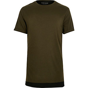 Khaki green double layer longline t-shirt
