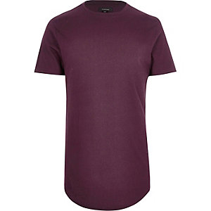 Dark red longline curved hem t-shirt
