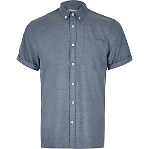Blue flannel short sleeve shirt