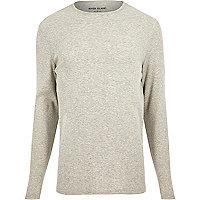 Grey ribbed slim fit long sleeve T-shirt