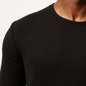 Black essential ribbed slim fit top