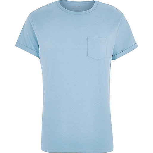 Blue pocket crew neck T-shirt