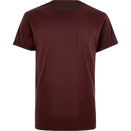 Dark red plain chest pocket T-shirt