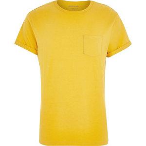 Dark yellow pocket crew neck t-shirt