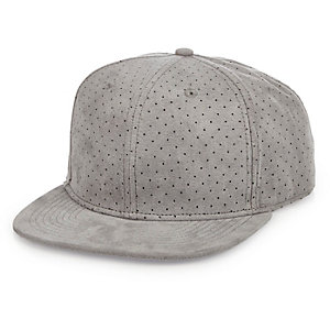 Light grey perforated faux suede cap