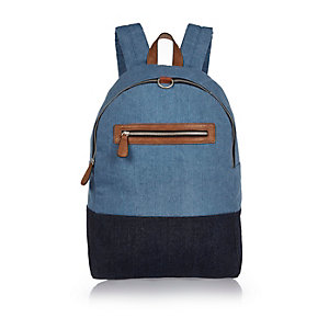 Blue mixed denim backpack