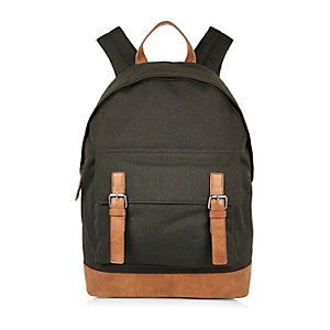 Dark green canvas buckle backpack