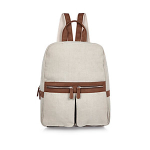 Ecru canvas backpack