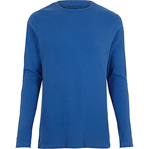 Blue ribbed slim fit long sleeve T-shirt