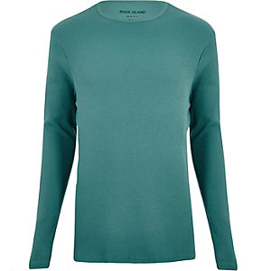Green essential ribbed slim fit top