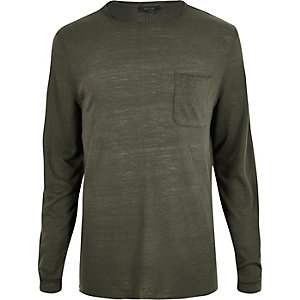 Dark green pocket crew neck top