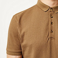 Camel textured slim fit polo shirt