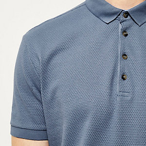 Blue textured polo shirt