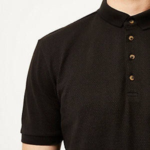 Black textured polo shirt