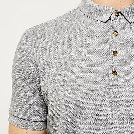 Grey textured slim fit polo shirt