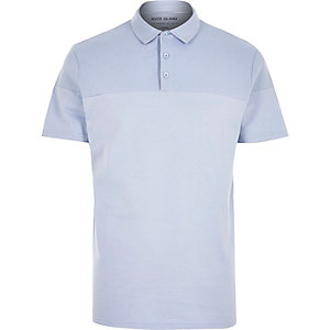 Blue ribbed panel polo shirt