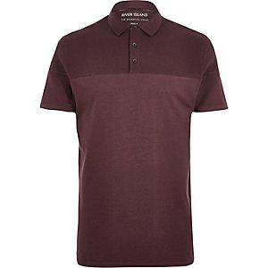 Dark red ribbed panel polo shirt