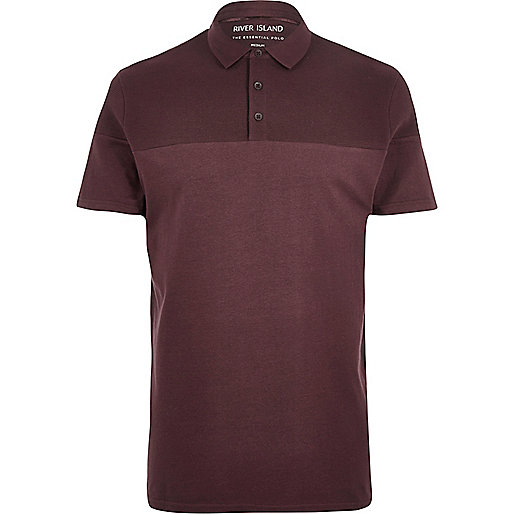 Dark red ribbed panel polo shirt
