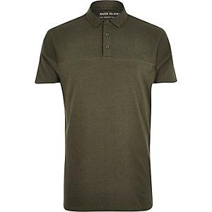 Khaki ribbed panel polo shirt