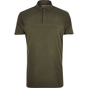 Khaki ribbed panel polo shirt