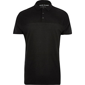 Black ribbed panel polo shirt