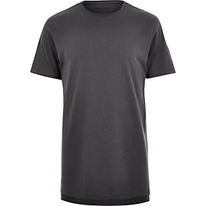 Grey longline stepped hem t-shirt