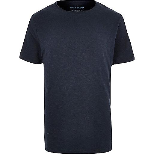 T-shirt bleu marine ras du cou