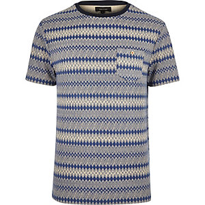 Navy geometric pattern t-shirt