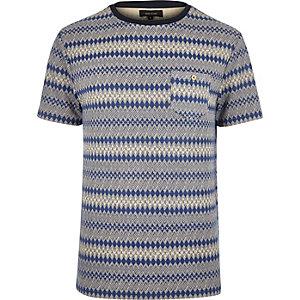 Navy geometric pattern t-shirt