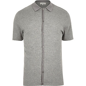 Grey button-up short sleeve sweater