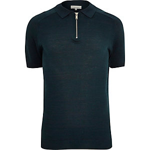 Dark blue zip neck polo shirt