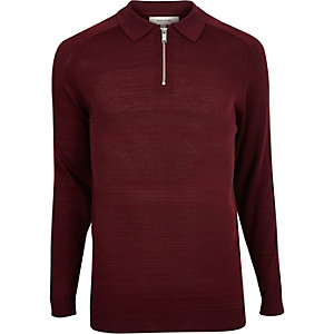 Dark red zip-up polo sweater