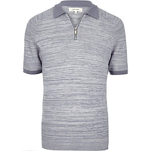 Light blue zip-up polo shirt