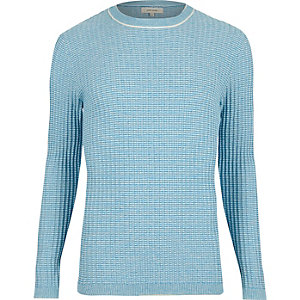 Light blue ribbed crew neck slim sweater