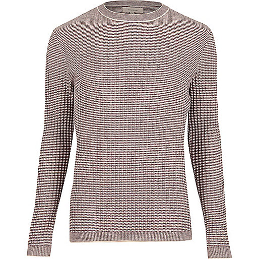 Purple ribbed crew neck slim jumper