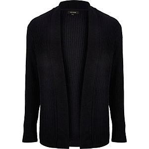 Dark blue textured knitted cardigan