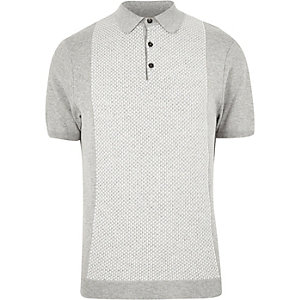 Grey geometric polo shirt