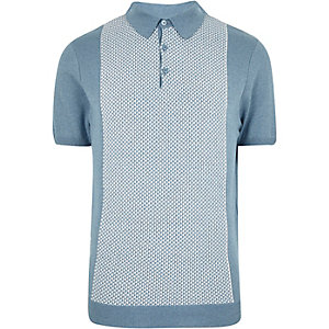 Blue geometric polo shirt