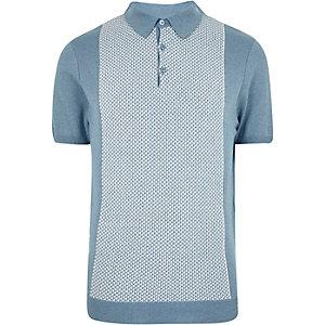 Blue geometric polo shirt