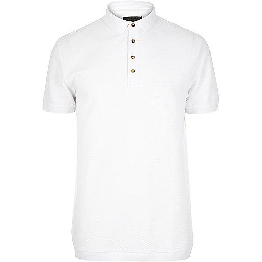 White textured polo shirt