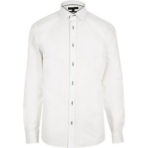White contrast stitch slim shirt