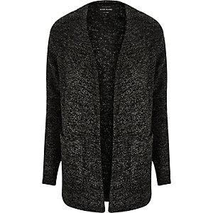 Grey textured knit open cardigan