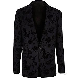 Navy floral velvet slim blazer