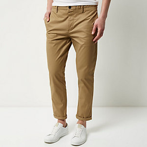 Brown stretch cropped slim chino trousers