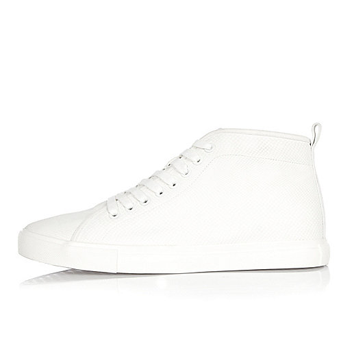 White demi lace-up hi tops