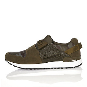 Green camouflage print sports trainers