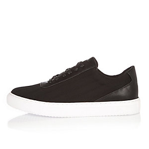 Black stitch lace-up sneakers